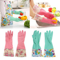 4x Kitchen Rubber Cleaning Gloves Warm Lining Household Dishwashing