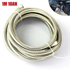 1M 10AN Car Oil Cooler Stainless Steel Braided Oil Fuel Line Hose Inlet 14.3mm