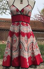 Size 7 Speechless Halter Sun Party Dress Red & Peach Coral Paisley Black Tulle