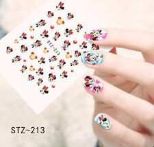 Nail Art Water Decals Stickers Transfers RED Mickey Minnie Mouse Bows (STZ213)