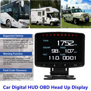 Car Trucks HUD OBD Head Up Display Speedometer Gauge Digital Device Error Alarm