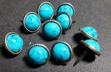 12mm Metal Round Brads with 10mm Turquoise Pearl Veined Bead (Pack of 10)