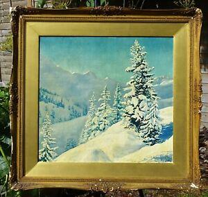 Baron Alexander Meyendorff original old oil painting art Winter scene 1927