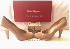 Salvatore Ferragamo Pascal suede pumps beige camel tan heels shoes 36.5 6 6.5