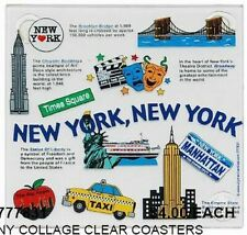 New York City Glass Coaster, All IN One, 4 Pieces New, USA Souvenir