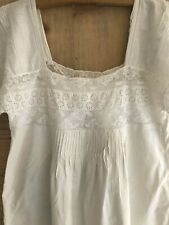 Antique French COTTON nightshirt LACE PINTUCKS c1900