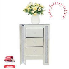 Miroir cristal concassée 3 tiroirs Table de chevet armoire table chevet verre à