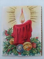 1950s Padded PUFF CANDLE Embossed ORNAMENTS Vtg CHRISTMAS GREETING CARD