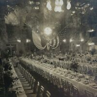 Banquet Hall Waldorf-Astoria New York Prince Henry American Press Vtg Stereoview