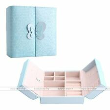 Fashion PU Leather Travel Jewelry Display Holder Storage Case Organizer Box Blue