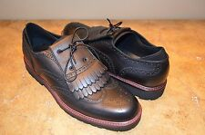 Emporio Armani Men's Black Fringe Leather Shoes Size 13