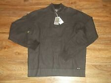 NEW Mens IKE By Ike Behar Zip Pullover Sweater Shirt Sz Medium M Cotton Brown