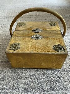 Rare Victorian Antique Gold Velvet Sewing Box W/handle & Notions