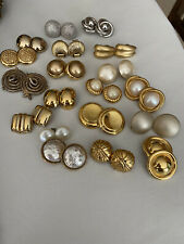 Lot Of 19 Vintage Glam Earrings - Silver, Gold - Liz Claiborne, Erwin Pearl, Etc