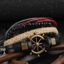 4pcs Punk Retro Bracelet Wristband Set Rudder Compass Hand-Woven Multilayer New