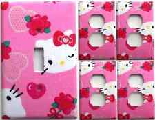 Hello Kitty Pink Hearts Light Switch Cover Girls Bedroom Wall Decor Set 1&4