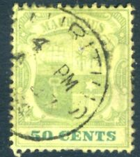 MAURITIUS-1902 50c Dull Green & Deep Green/Yellow Sg 152 GOOD USED V15602