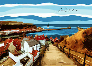 Whitby Steps Limited Art Print By Sarah Jane Holt Large Version