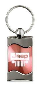 Premium Chrome Spun Wave Pink Jeep Grille Genuine Logo Key Chain Fob Ring
