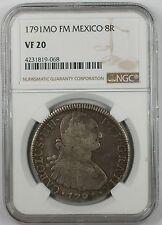 1791-MO FM Mexico 8 Reales Silver Coin NGC VF-20