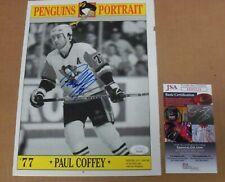 """Paul Coffey, Signed """"PENGUINS PORTRAIT"""" magazine page, JSA"""