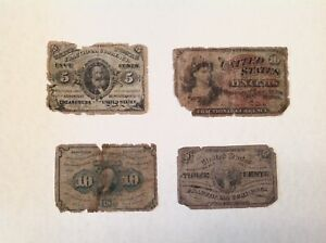 ~ LOT OF  4 -  US FRACTIONAL CURRENCY NOTES 3c, 5C & 2 10c NOTES