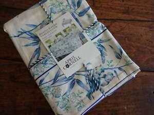 APRIL CORNELL BAMBOO GARDEN BLUE Green Ecru FLORAL BIRDS Cotton TABLECLOTH