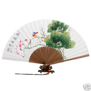 Fächer Handfächer Papier Lotus Bambus Wand Dekor Weiss Neu