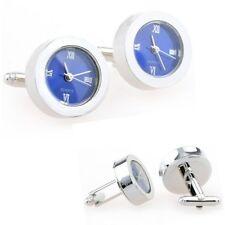 Blue Functional Clock Watch Cufflinks + Free Box & Cleaner