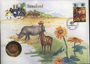 SWAZILAND, ENVELOPE SOUVENIR, AVEC MONNAIE