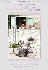 70th Birthday To A Special Mum Flowers Lavender Bike Design Happy Birthday Card