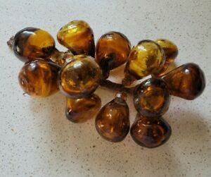 Vintage Dark Amber Glass w/Bubbles Bunch of Grapes Clusters