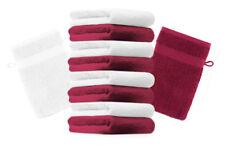 Betz lot de 10 gants de toilette Premium: rouge foncé & blanc, 16 x 20 cm