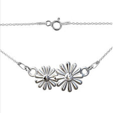 FASHIONS FOREVER® 925 Sterling Silver Twin Daisy-Flower Love Necklace-Pendant
