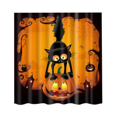 Halloween Decor Shower Curtain Pumpkin Owl & Cat for Bathroom 71'' Long