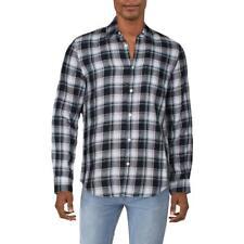 Perry Ellis Para Hombre Lino Camisa abotonada a cuadros tejido BHFO 0953