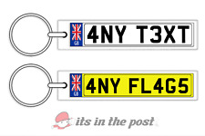 PERSONALISED GB NUMBER PLATE KEYRING - HOUSE CAR KEYCHAIN  ANY TEXT/FLAG GIFT
