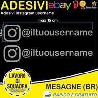 Kit 2 Adesivi Instagram username Nome Divertente Auto Adesivo Mood ARGENTO Mood