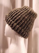 Handmade One Size Charcoal Gray Knitted Beanie 80% Acrylic 20% Wool
