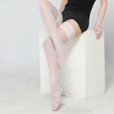 Elastic Knee High Black Red Thigh Socks Sheer Hollow Lace Top Fishnet Stockings