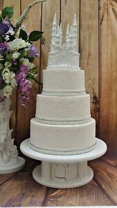 WHITE LARGE CASTLE WEDDING CAKE TOPPER