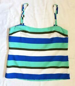 EUC AUTH Bec & Bridge Sz 10 Top Singlet Blue Stripe Designer Chic Beach Glam