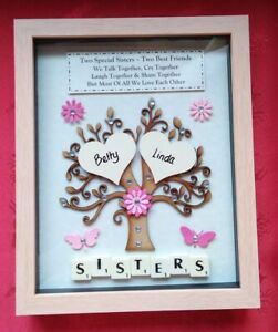SISTER Personalised BIRTHDAY GIFT Frame Picture Tree Keepsake Christmas Siblings
