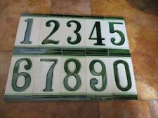 Numéro de Domicile En Céramique Emaillée Carreau Avec Vert Bordure Numéros 0-9