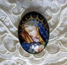Beautiful Madonna 30X40mm Glitter Unset Handmade Glass Art Bubble Cameo Cabochon