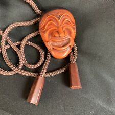 Vintage Yangban Traditional Korean Hahoetal Mask Punae Bune Bolo Tie Resin