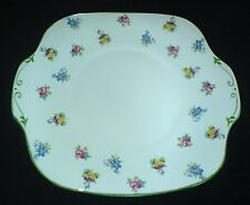 Crown Staffordshire Pink Rose / Pansy 10 inch Serving/ Cake Plate 1930 Patt15928