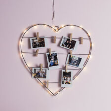 Lights4fun Heart Wreath Display Wall Light Battery Operated 18 Warm White Micro