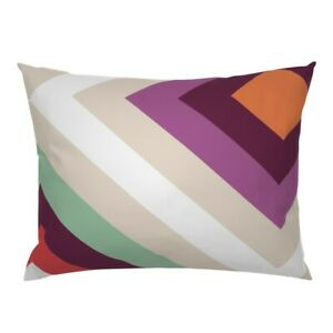 Bold Retro Stripes Orange Red Purple Blue Crossing Pillow Sham by Roostery