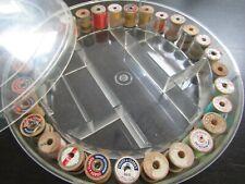 "Vintage Sewing Thread Holder Caddy w 29 Wood Thread Spools Cubbies 12"" diameter"